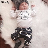 Newborn Baby Boys Little Brother Clothes Sets Tops Romper Long Pants Cute Animals Cotton Hat Outfits