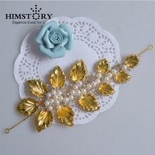 2c467f176f5b Himstory boda hairwear estilo europeo oro hoja perla diseños boda headpiece  nupcial accesorio del pelo