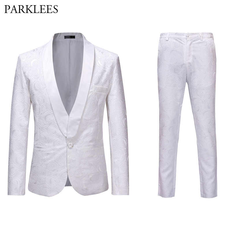 メンズ 2 ピーススーツ白ジャガードの男性が結婚式タキシードスリムシングルボタンでパーティーステージ衣装オム