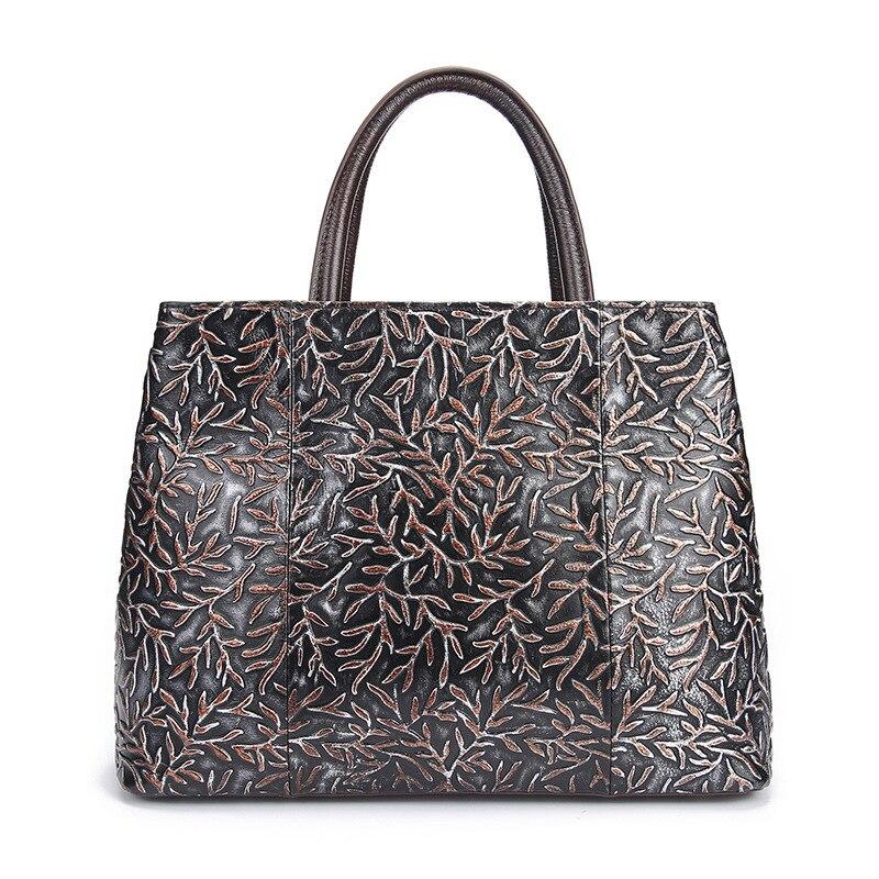 New Arrival Women Genuine Leather Messenger Bags Embossing Design Ladies Office Casual Shoulder Bag Luxury Cowhide