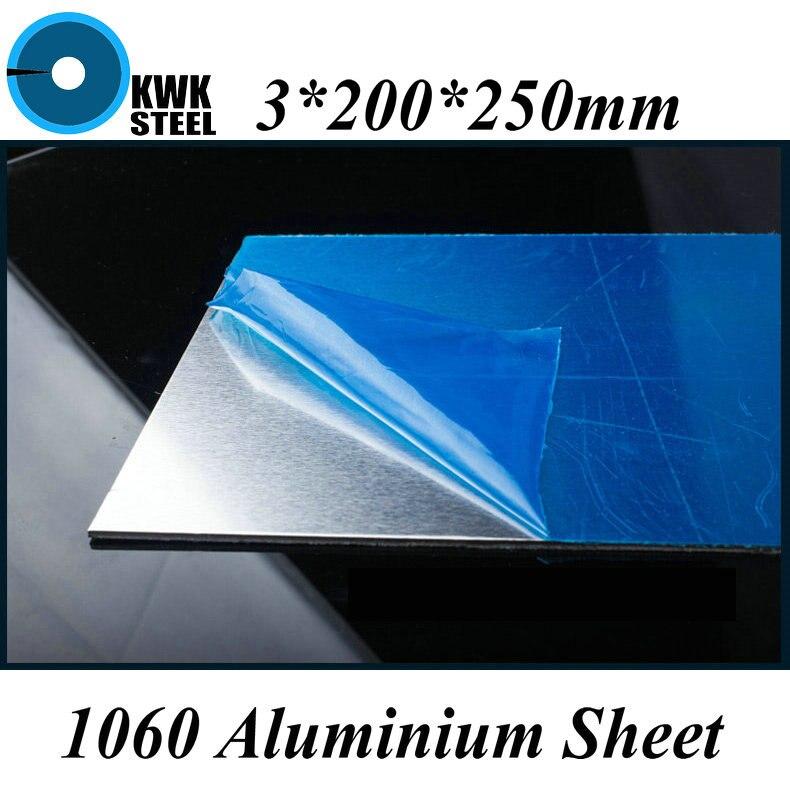 3*200*250mm Aluminum 1060 Sheet Pure Aluminium Plate DIY Material Free Shipping