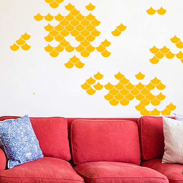 Fish Scale Wall Stickers Geometric Home Decoration DIY Vinyl Wall Decals Removable Kids Room Wall Art & Fish Scale Wall Stickers Geometric Home Decoration DIY Vinyl Wall ...
