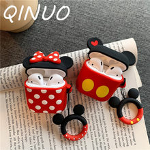 Bluetooth Earphone Case for Airpods 2 1 Protective Cover For air pods Box Key Ring Strap Cute Cartoon DIY Silicone Mickey Minnie(China)