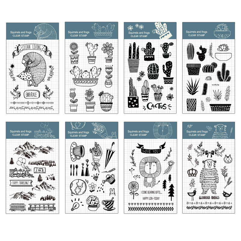 Transparent silicone seal Bear lion cactus seal DIY decoration Hand account rubber stamp scrapbook diy photo album card hand account rubber seal product seal transparent seal stamp cat
