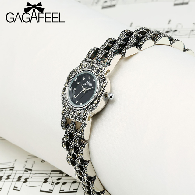 GAGAFEEL 100% 925 Sterling Silver Women Wristwatch Female Dress Watch Ladies Ele