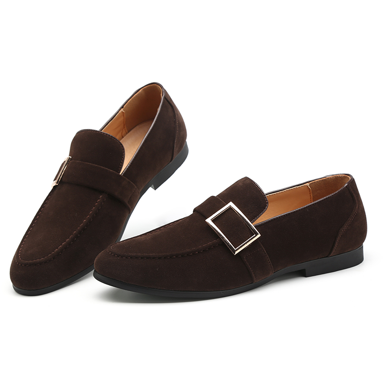 Misalwa Fashionable Moccasins Men 39 s Suede Leather Loafers Belt Buckle Dress Wedding Shoes Handmade Camel Brown Black Footwear in Men 39 s Casual Shoes from Shoes