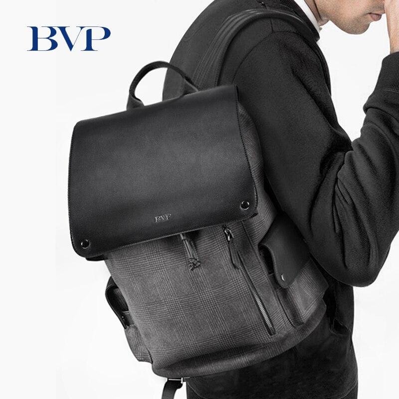 BVP Marque Conception Treillis En Cuir Mâle Sac À Dos Fashon Véritable En Cuir 14 pouce ordinateur portable sac à Dos de grande capacité Hommes Voyage sac 50