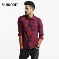 SIMWOOD 2017 Autumn New Plaid Shirt Men Long Sleeve Slim Fit Imported Clothing 100 Pure Cotton