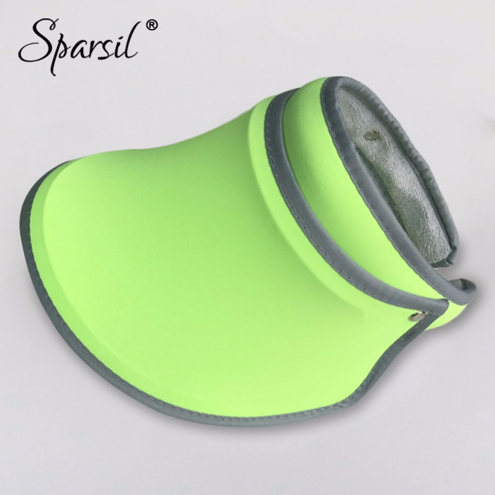 Sparsil Summer Anti-UV Foldable Sun Hats Empty Top Elastic Cool Beach Travel Caps Parent-Child Outdoor Sun-Protective Visor Hat
