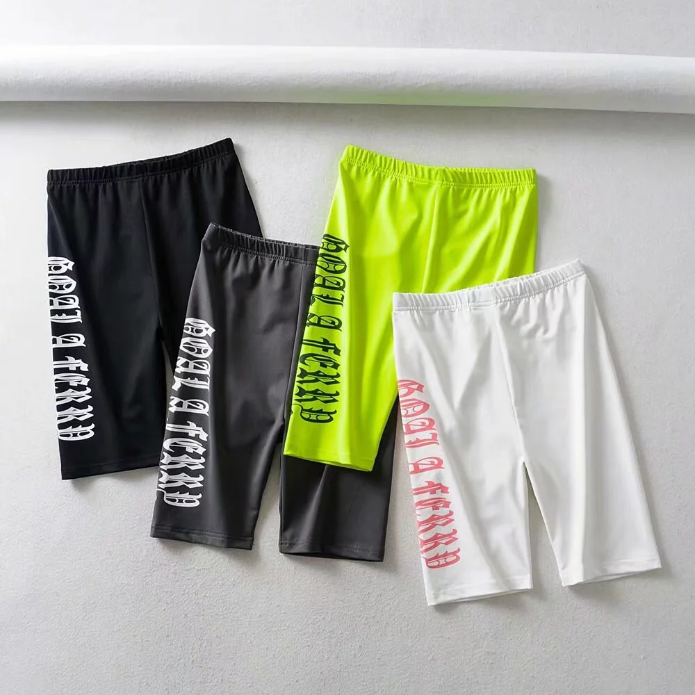 Fashion Letter Neon Green Biker Shorts Womens High Waist Shorts Streetwear Punk Summer Short Feminino Korean Style Women Shorts