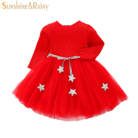 Spring Baby Girls Dresses Star Belt Girl Tutu Dress Long Sleeve Infant Kids Princess Dress Toddler