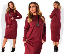 Hot Autumn Long Sleeve Solid Casual Women Dresses Straight Mid Calf Long Dress O Neck Female Dress Plus Size Vestidos
