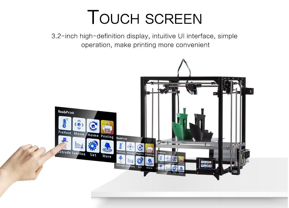 2019 nuevo Kit de cubo de impresora 3d de gran tamaño de impresión de marco de Metal impresora extrusora Dual 3D Wifi Auto nivel un rollo de filamento tarjeta SD - 4