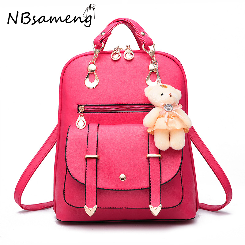 ФОТО Women Backpack 2016 Good PU Leather Bags Vintage Casual Shoulder Tote Bag Fashion Korean Style Personality School Bags Mochilas