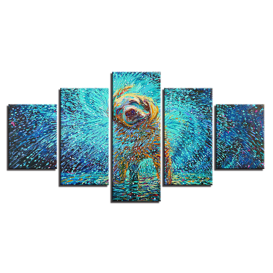 Canvas-HD-Prints-Poster-Wall-Art-Framework-Abstract-Pictures-5-Pieces-Impressionist-Dog-Shake-Paintings-For