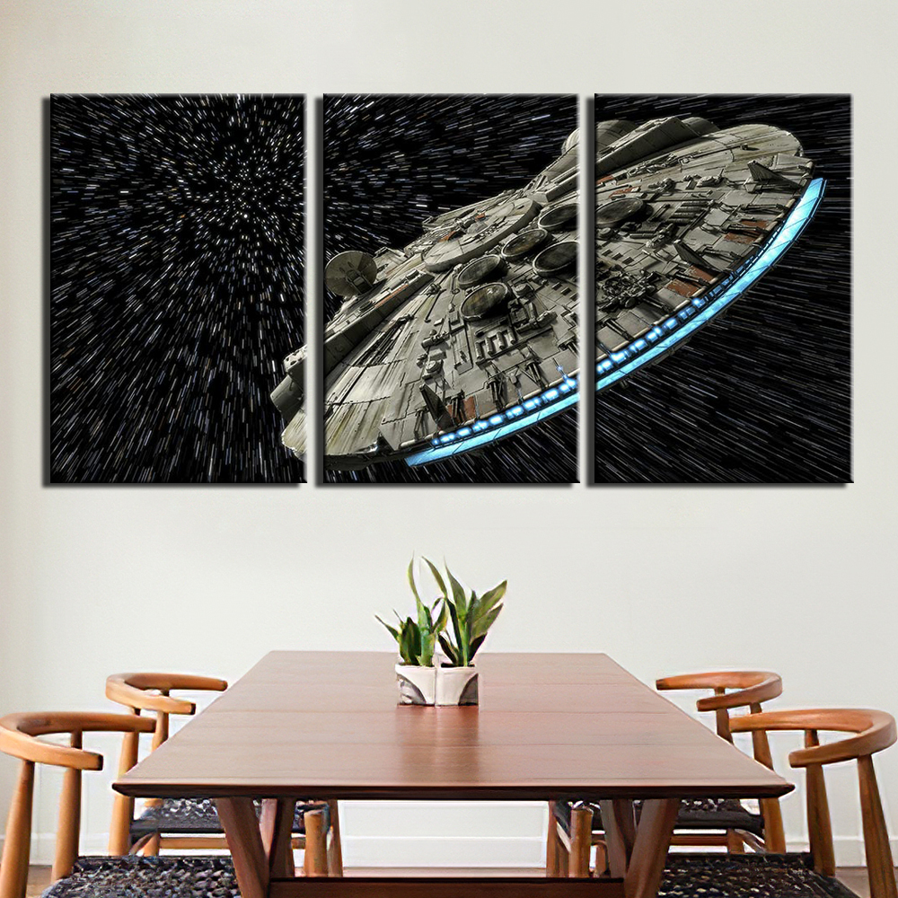 Canvas Wall Art 3 panels star wars Millennium Falcon movie Pictures Prints Poster Home 3 pieces movie Canvas Painting image