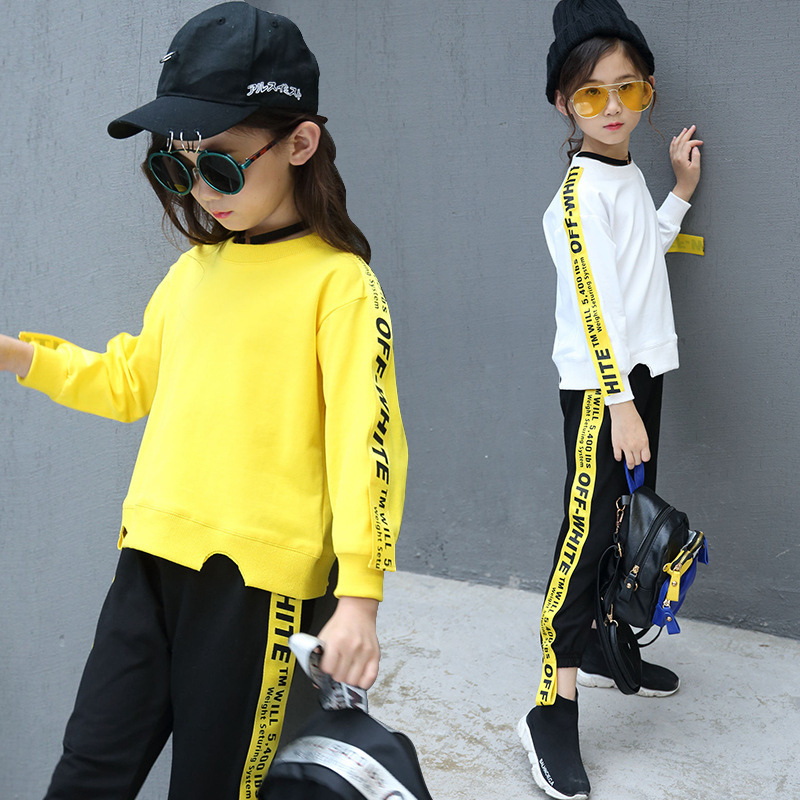 Autumn New Product Girl Child Pure Cotton Long Sleeve Trousers Weave Bring Motion Suit Two Pieces Kids Clothing Sets summer child suit new pattern girl korean salopettes twinset child fashion suit 2 pieces kids clothing sets suits