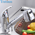 Free shipping Pull out Faucet Copper e Single Hole Kitchen Faucet Sink tap Thickening Type Chrome Finish torneira YT-6040