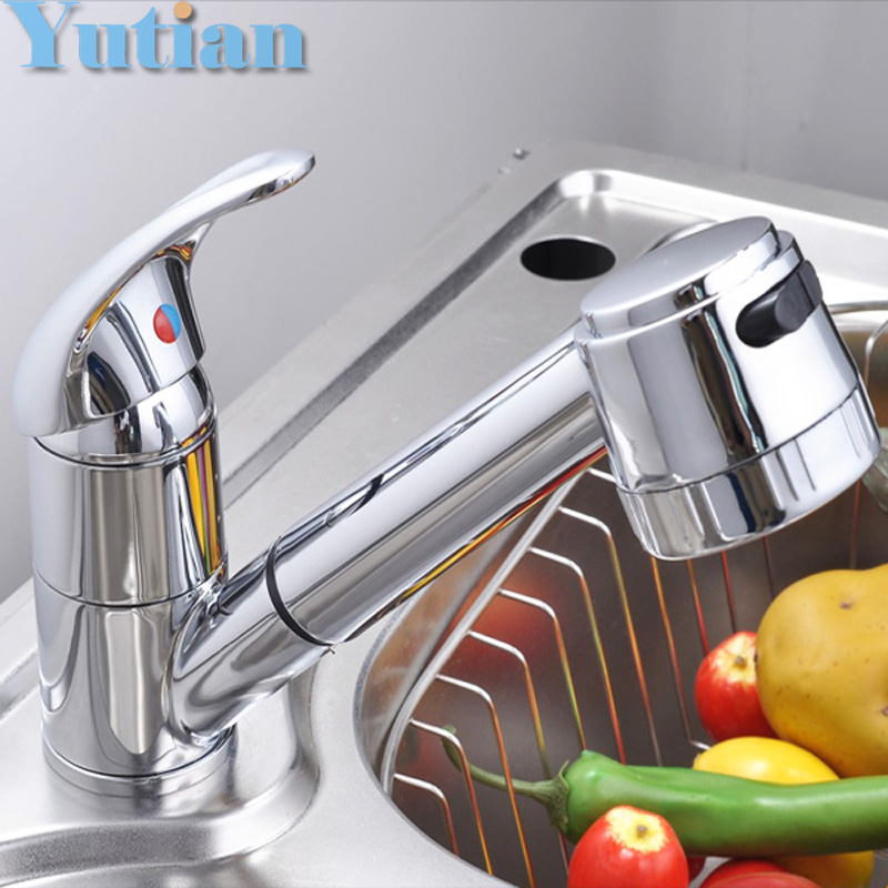 Free Shipping Pull Out Faucet Copper E Single Hole Kitchen Faucet Sink Tap  Thickening Type Chrome Part 61