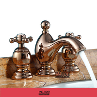 Luxury Rose Gold Finish Bathroom Vanity Sink 3 Hole Two Handle Widespread Faucet Bathroom Sink Faucet