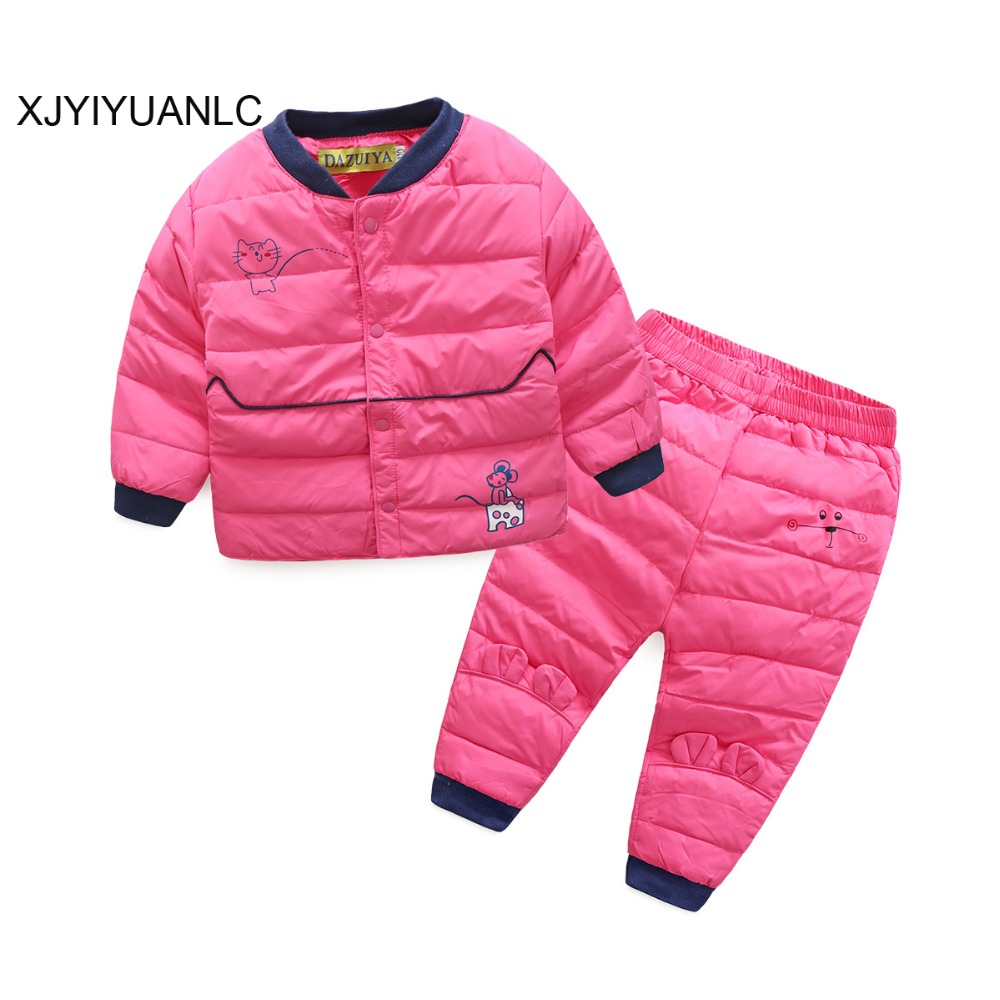 Girls Clothing Sets Children Clothing Winter Baby girl White Duck Down Jacket Trousers Waterproof Snow Warm kids Clothes Suit 2017 winter children clothing set russia baby girl snow suit sets boy s outdoor sport kids down coats jackets trousers 30degree