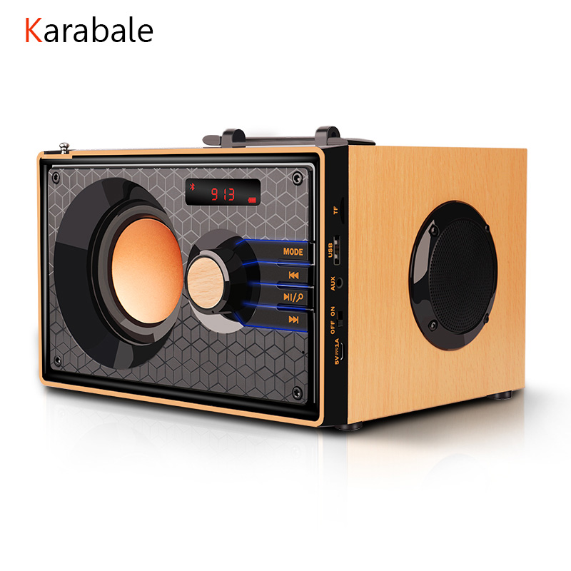 Subwoofer Speaker Soundbar Wooden HIFI Fm-Radio Heavy-Bass-Stereo Portable Wireless Desk