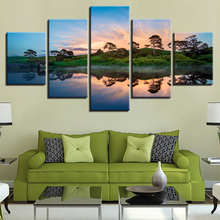 HD Printing Paintings Frame Wall Art 5 Pieces Mountain Lake Tree Sunset Scenery Poster Modular Canvas Pictures Decor Living Room
