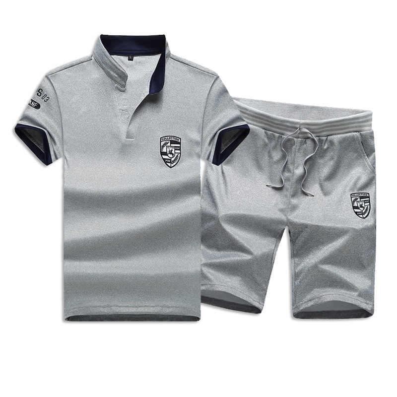 夏ショートセット男性カジュアルスーツスポーツウェアトラックスーツスタンド襟男性生き抜くスウェットパーカーパッチワーク Tシャツ + パンツ