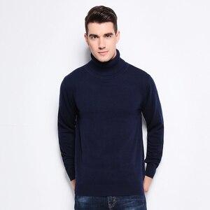 Image 3 - Nieuwe Herfst Winter Mode Merk Kleding Mannen Truien Warm Slim Fit Coltrui Mannen Trui 100% Katoen Gebreide Trui Mannen