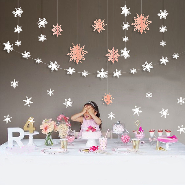 Us 2 26 9 Off 3d Value Ornaments Hanging Snowflake Decorations Wall Sticker Snowflake Garlands Home Girls Frozen Themed Party Decorations In Party