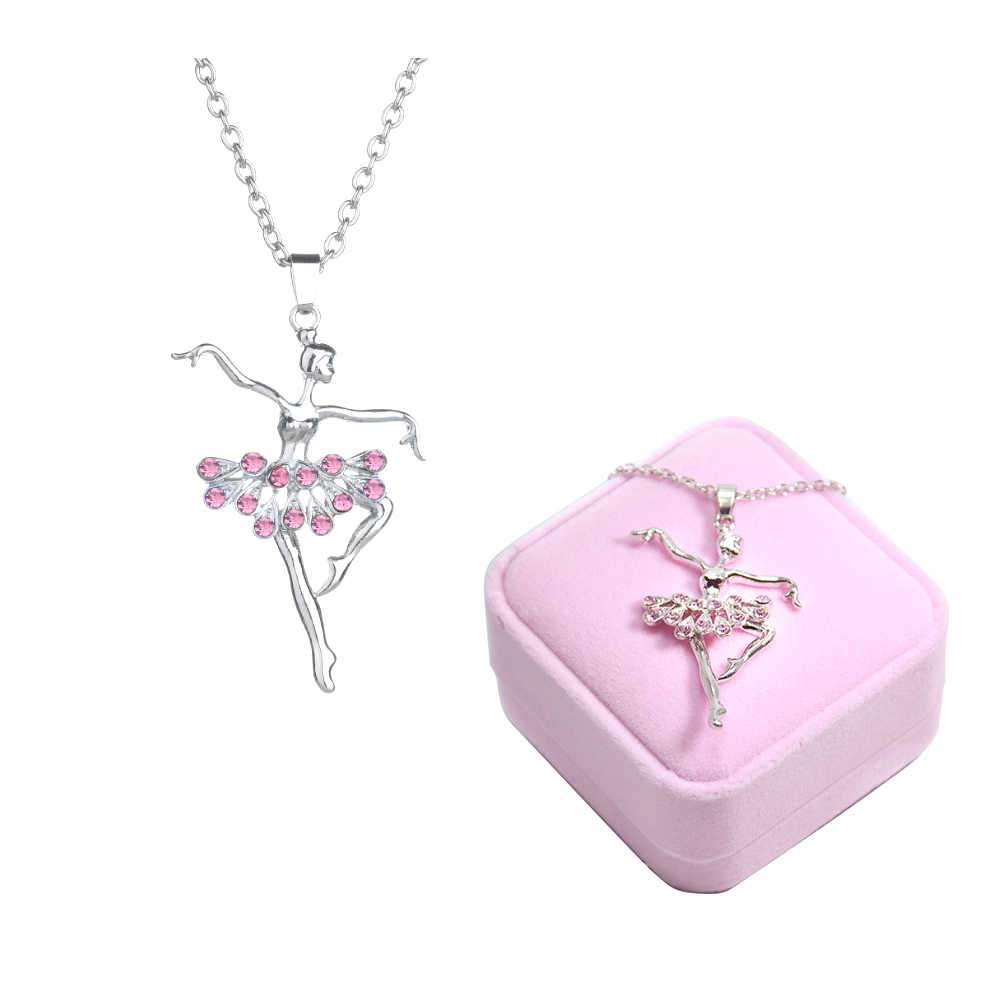 Dancing Ballerina Dancer Ballet Pendant Necklace Charm Surprise Jewelry Gift for Girls Women