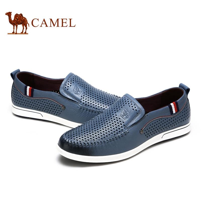 Верблюд 2018 весной и новые летние Для мужчин полые Лоферы для женщин повседневная обувь Пояса из натуральной кожи дышащие противоскользящие...