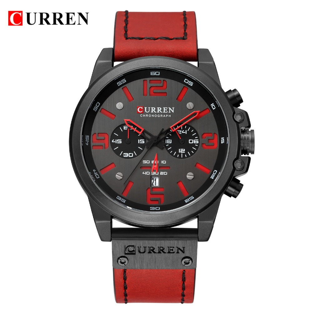 NEW CURREN Mens Watches Top Luxury Brand Waterproof Sport Wrist Watch Chronograph Quartz Military Leather Relogio Masculino