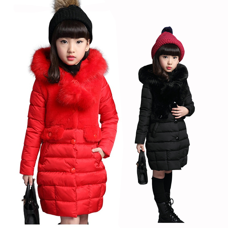 Girls Winter Coat 2018 Children Fashion Padded Cotton Jacket Girl Long Section Warm Jacket Kid Thickening Wadded Outwear Hooded 2015 new mori girl wave raglan hooded loose sleeve medium long wadded jacket female