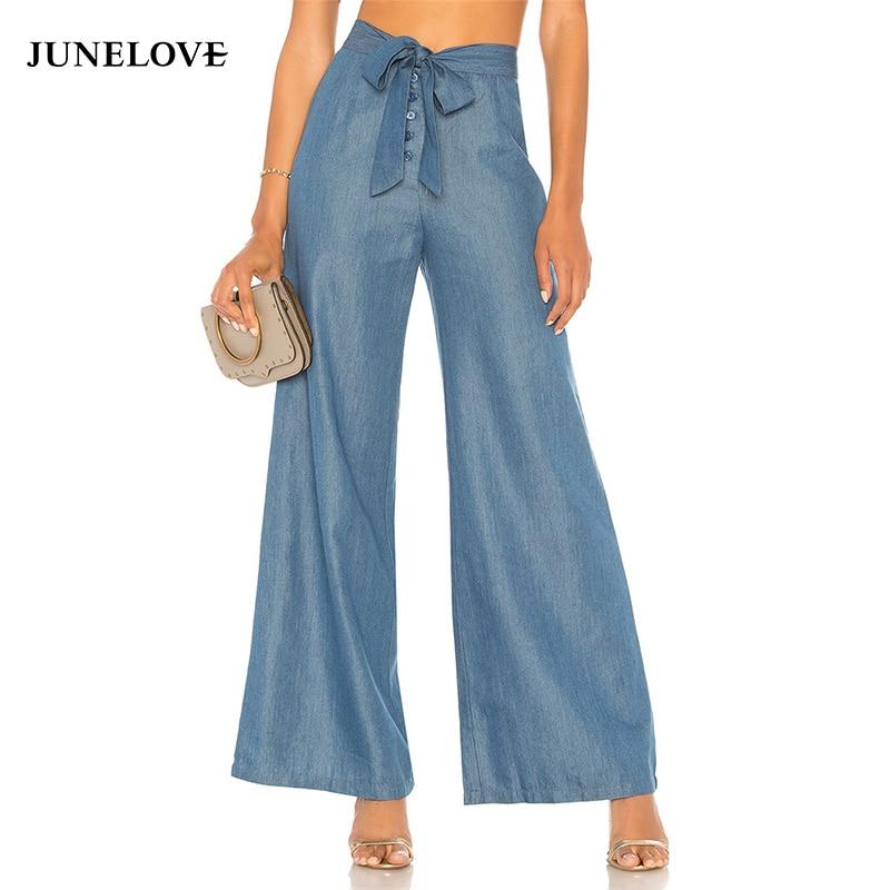 JuneLove plana verão de cintura alta mulheres calças com cordão calças incendiar senhoras streetwear zipper sólidos lace up bow botto