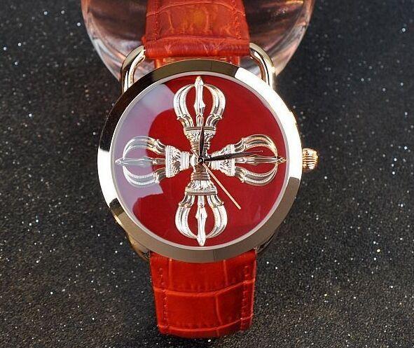 Guou марка мода женские часы ваджра буддийский резьбой узор черный кварцевые часы из натуральной кожи обычный наручные часы
