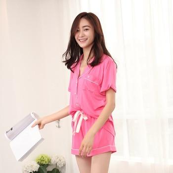 Modal Pijama Shorts Women Two Piece Short Pajama Set Pyjama Shorts Button Top and Womens Sleep Shorts Summer Sleepwear 2