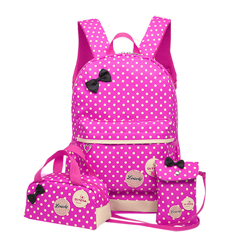 843e88b4ce5c Children Bag Dot Printing School Bags For Girls Set Bow Princess ...