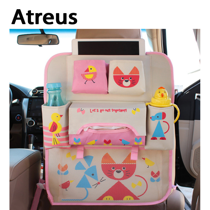 Atreus For Ford Focus 2 3 Fiesta Toyota Corolla Avensis Mazda 3 6 cx-5 Cartoon car back seat trunk luggage net kid Accessories