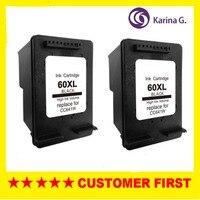 2PCS Black Ink Cartridge For HP 60 60XL Hp60 Deskjet D1620 D1630 D1658 D1660 D1663 D1668