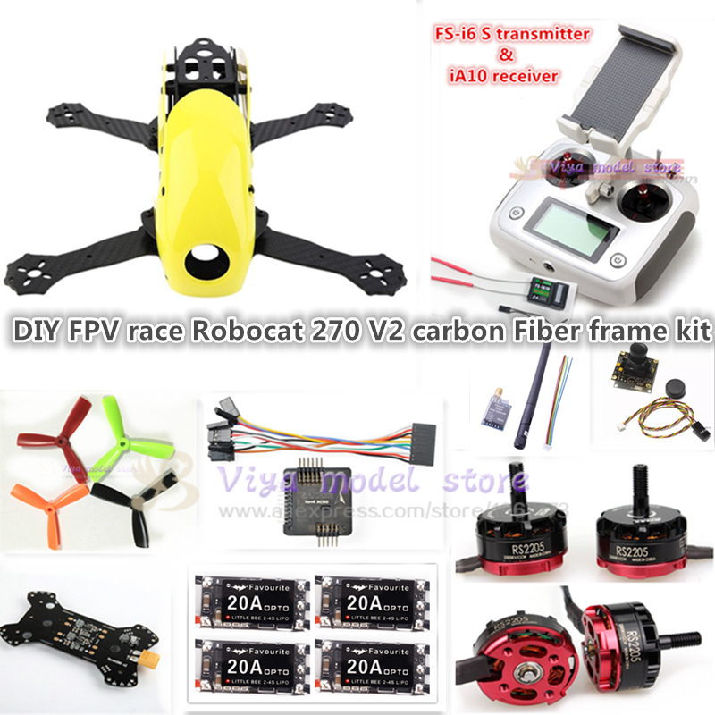 DIY FPV race Robocat 270 V2 mini drone carbon Fiber frame kit NAZE32 REV6 10DOF+EMAX RS2205 2300KV+little bee 20A ESC+FS-I6S diy fpv mini drone qav210 zmr210 race quadcopter full carbon frame kit naze32 emax 2204ii kv2300 motor bl12a esc run with 4s