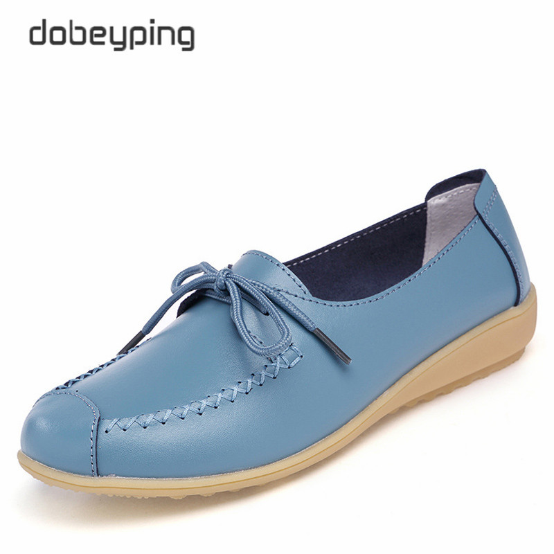 Casual Ballet Shoes Women Real Leather Women's Loafers Lace-Up Woman Flats Shoe Flexible Moccasin Mother Footwear Big Size 35-41 girls fashion punk shoes woman spring flats footwear lace up oxford women gold silver loafers boat shoes big size 35 43 s 18