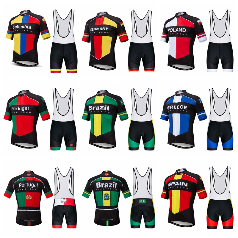 Men Cycling Jersey Set Short Sleeve MTB Bike Bicycle GEL Shorts Colombia Germany Poland Brazil Spain Portugal Maillot Ciclismo