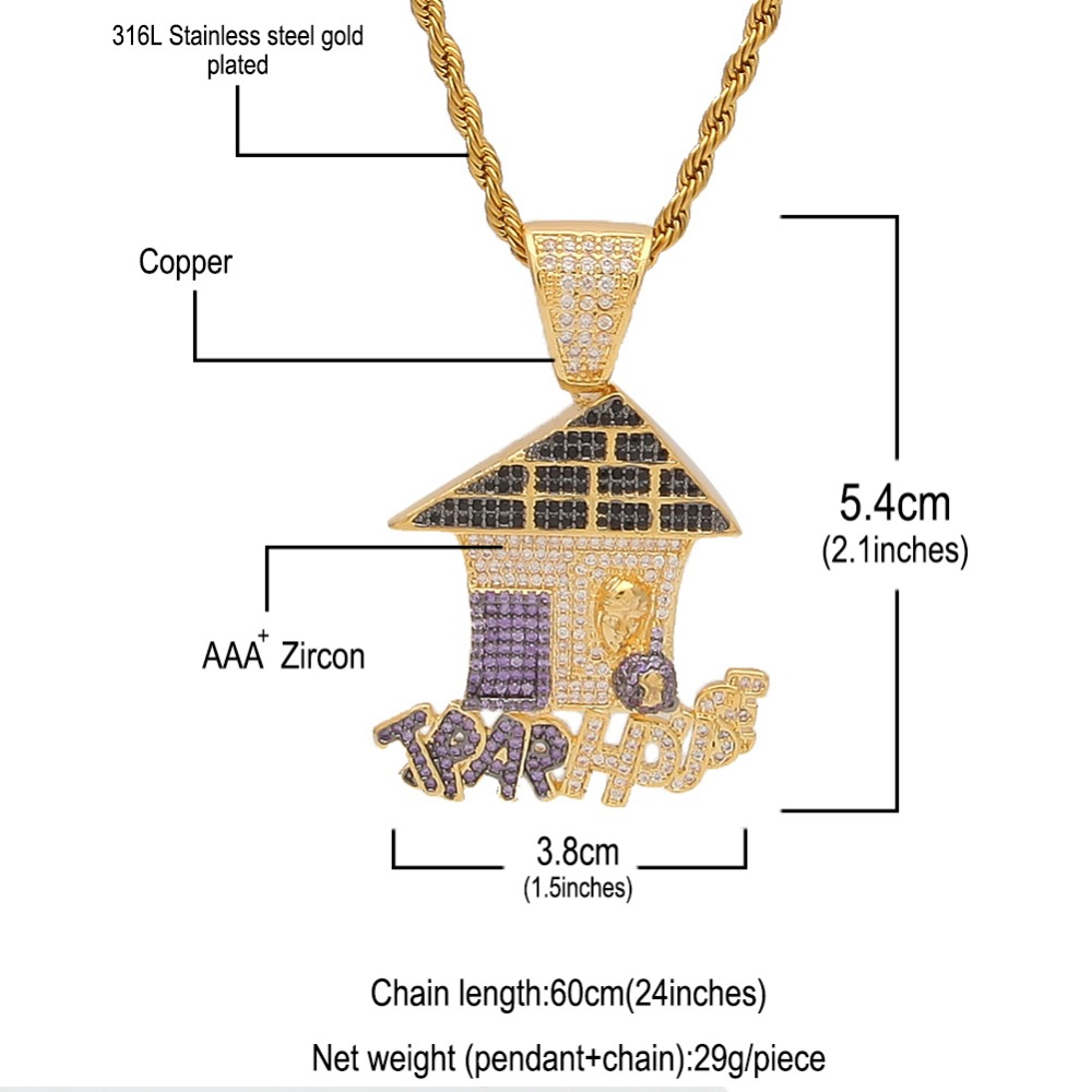 9f67208d15e916 Colored Iced Cubic Zirconia Trap House Necklace Double Color Plating Hiphop  Gold Color Pendant Jewelry For Men/Women-in Chain Necklaces from Jewelry ...