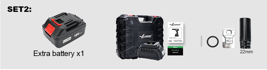 LANNERET 18V Brushless Cordless Impact Electric Wrench 300-600N.m Torque Household CarSUV Wheel 12 Socket Wrench Power Tool (12)