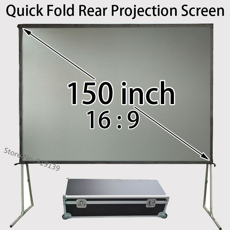 Portable Presentation Screen 150 inch 16 9 Widescreen With Aluminum Frame For Rear Projection