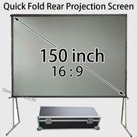 Draagbare Presentatie Screen 150-inch 16:9 Breedbeeld Met Aluminium Frame Voor Achter Projectie