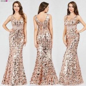 Image 4 - Блестящие Великолепные золотые вечерние платья с длинным рукавом EP07872 пикантные элегантные вечерние платья Русалочки с блестками 2020 Robe De Soiree