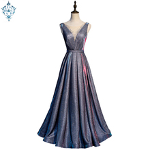 Ameision Shinning silver Long Dresses sleeveless Lady luxury Party Hot drilling evening Dress banquet Gowns