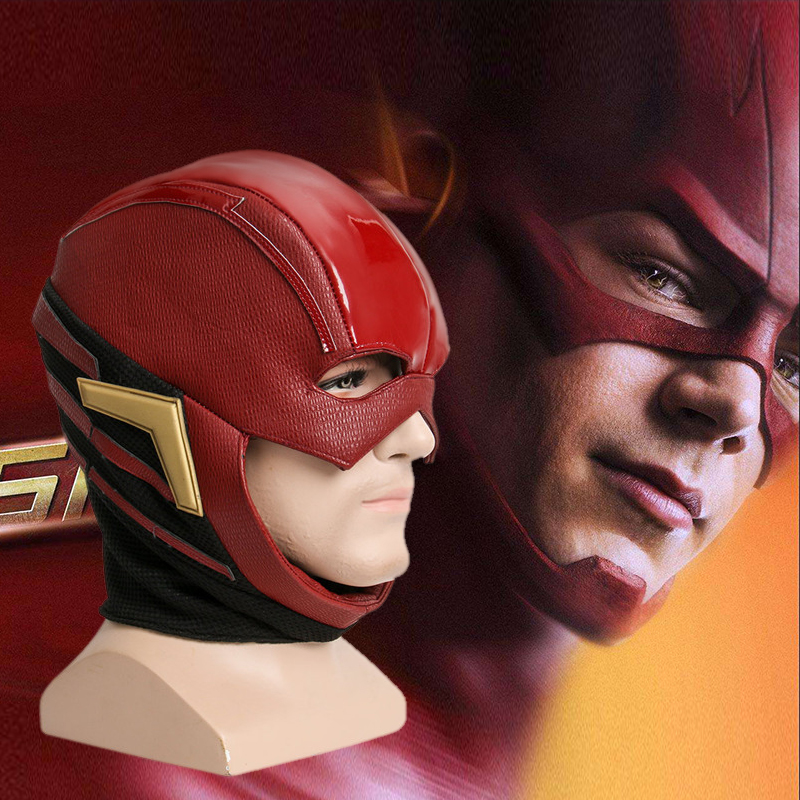 2017 Movie Justice League Mask The Flash Allen Cosplay Helmet Red Mask Adult Halloween Full Face PU Leather Cosplay Mask